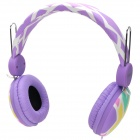 Kanen ip-810 Fashion Stereo Headset Headphone w/ Microphone - Purple + White