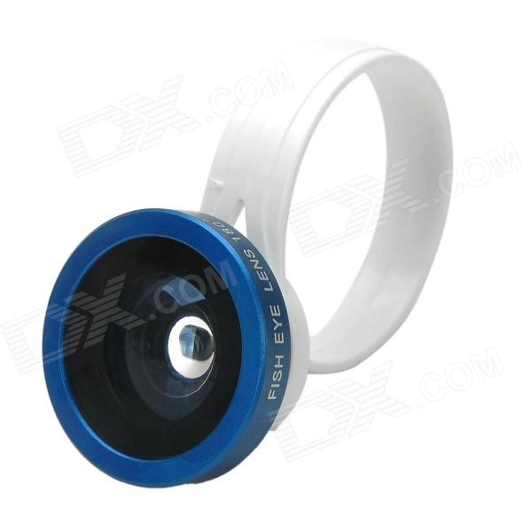 LX-C001 Universal Clip-On 180 Degree Fish Eye Lens for Iphone + Samsung + More - Blue