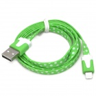 ip-8 Fashion USB-Stecker auf 8 Pin Blitz Male Data Flat-Kabel für iPhone 5 - Grün + Weiß (100 cm)