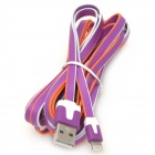 USB Male to 8 Pin Lightning Male Charging Flat Cable for iPhone 5 - Purple + White + Orange (3 M)