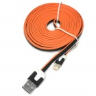 USB Male to 8 Pin Lightning Male Charging Flat Cable for iPhone 5 - Black + White + Orange (3 M)