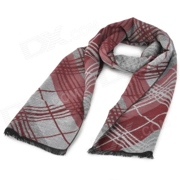 DG8051 Men's Stylish Lattice Pattern Soft Cozy Artificial Fiber Warm Scarf Muffler - Gray + Wine Red
