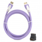 1080P HD HDMI 1.4 Male to Male Connective Cable + HDMI Female to Female Adapter - Purple + White