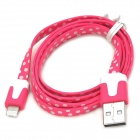 ip-8 USB Male to 8 Pin Lightning Male Data Flat Cable for iPhone 5 - Deep Pink + White (100 CM)