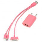 3-in-1 USB to 8 Pin Lighting / 30 Pin / Micro USB Data Cable w/ Charging Adapter - Pink (EU Plug)