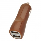 Stylish Car Cigarette Powered Charging Adapter Charger w/ Dual USB Output for iPad / iPhone - Coffee