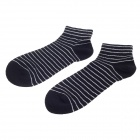 Fashionable Striped Style Men's Socks - Black + White (Pair)