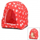 Cute Footprint Pattern Pet Dog House w/ Water Resistant Mat Floor - Red