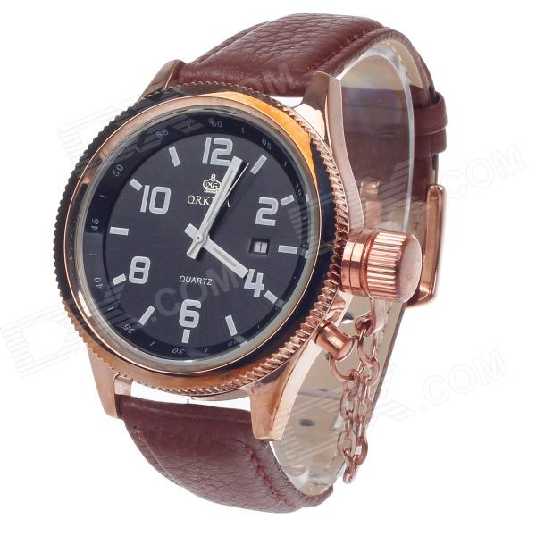 ORKINA W007 Stylish Men's Quartz Wrist Watch w/ Simple Calendar - Copper + Brown + Black (1 x LR626) solid scrub stainless steel brushed black gold silver rose gold finished watch band clasp buckle watchbands 16 18 20mm 24mm 26mm