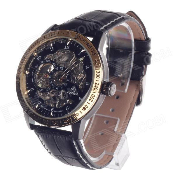 ORKINA KC117 Double-Sided Hollow Style Automatic Mechanical Men's Wrist Watch - Black + Golden