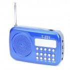 T-221 0.8LCD  Portable Media Player Loudspeaker w/ TF / FM - Blue + Grey