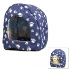 Cute Footprint Pattern Pet Dog House w/ Water Resistant Mat Floor - Blue