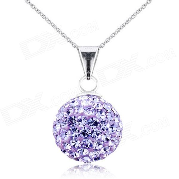 eQute PSIW119C6 925 Sterling Silver Full Austria Crystal Lucky Ball Pendant Necklace - Lavender equte psiw3coot1 s925 sterling silver necklace cat s eye axe pendant chain white silver 16