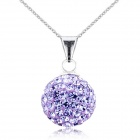 eQute PSIW119C6 925 Sterling Silver Full Austria Crystal Lucky Ball Pendant Necklace - Lavender