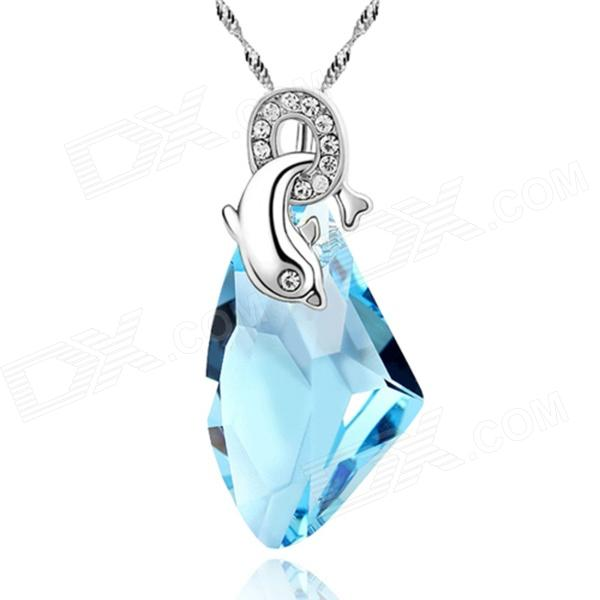 eQute PSWW125 S925 Sterling Silver Love of Dolphin Necklace - Blue + Silver equte psiw3coot1 s925 sterling silver necklace cat s eye axe pendant chain white silver 16