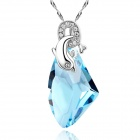 eQute PSWW125 S925 Sterling Silver Love of Dolphin Necklace - Blue + Silver
