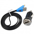 Car Charger + Lightning 8-Pin Male to USB 2.0 Male Cable for iPhone 5c / 5s - Black (12~24V / 97cm)