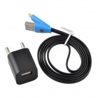EU Plug Charger Adapter + Flat Lightning 8-Pin Male to USB 2.0 Male Data Cable for iPhone 5c - Black