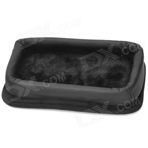 Car Instrument Desk Anti-slip PU Leather Storage Box Holder - Black