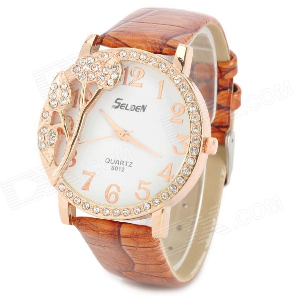 S012 Stylish Shiny Crystal Inlaid Leaf Patterned Analog Quartz Wrist Watch w/ PU Band (1 x 377) stylish bracelet band quartz wrist watch golden silver 1 x 377