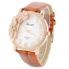S012 Stylish Shiny Crystal Inlaid Leaf Patterned Analog Quartz Wrist Watch w/ PU Band (1 x 377)