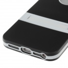 New Style Fashionable Protective TPU Back Case w/ Holder for Iphone 5 - Black + White