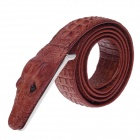 Fashion Crocodile Texture Head Layer Cowhide Men's Waist Belt w/ Zinc Alloy Buckle - Reddish Brown