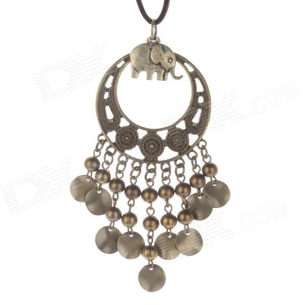 Fashionable Zinc Alloy Beads + Small Elephant Pendant Style Necklace for Women - Bronze + Brown ball shape beads pendant necklace