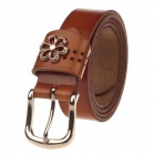 T.acttion 80703-6 Fashionable Head Layer Cowhide Women's Waist Belt w/ Zinc Alloy Buckle - Brown