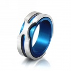eQute RSSM35C5S11 316L Titanium Steel Men's X Finger Ring - Blue + Silver (USA Size 11)