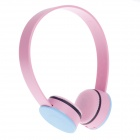 K20 Fashionable Wired Stereo Headset for Ipod / Iphone / Ipad - Pink + Blue (3.5mm Plug)