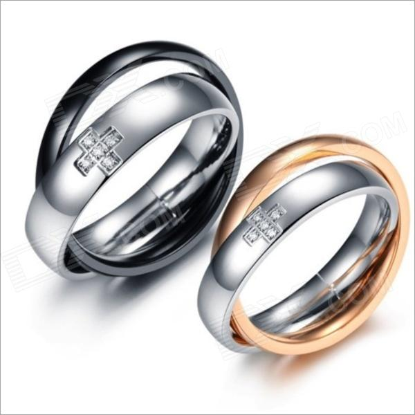 Cross 3-Ring Type Titanium Steel Couple Rings w/ Rhinestone - Black + Silver + Golden (Size 9 / 7) yongheng sl 01 men s 2 in 1 type rotatable titanium steel ring silver
