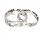 GJ250 Fashionable Feet Design Titanium Steel Personality Couple Rings - Silver (Male 9 / Female 7)