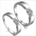 DJ901 Personalized Minimalist Rhinestone Couple Rings - Silver (Men 9 / Women 7 / Pair)