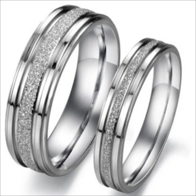GJ094 Ruili Pearl Sand Titanium Steel Couple Rings - Silver (Men 9 / Women 7 / Pair)