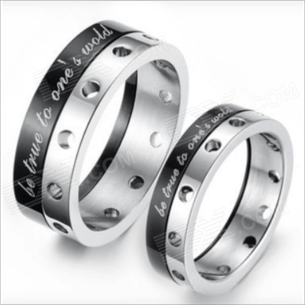GJ246 Fashionable Rotating Titanium Steel Couple Rings - Silver + Black (US Size 9 + 7 / Pair) cross 3 ring type titanium steel couple rings w rhinestone black silver golden size 9 7