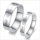 GJ278 Fashionable Titanium Steel Mandrel Cupid Love Arrow Couple Rings - Silver (US Size 9 + 7)