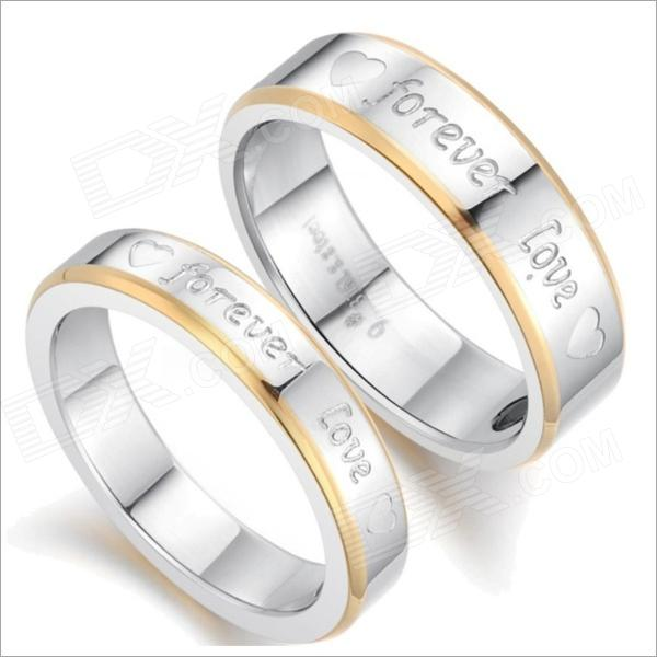 GJ259 Fashionable Forever Love Titanium Steel Couple Rings - Golden + Silver (US Size 9 7)