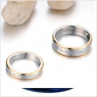 GJ259 Fashionable Forever Love Titanium Steel Couple Rings - Golden + Silver (US Size 9 + 7)