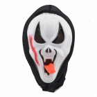 Halloween Scarred Long-Tongue Plastic Ghost Mask - White + Red + Black
