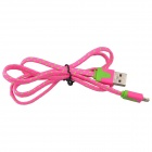 Nylon Lightning 8-Pin Male to USB 2.0 Male Data Sync / Charging Cable for iPhone 5c / 5s - Deep Pink