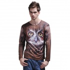 XINGLONG 3D Animal Pattern Long-Sleeve T Shirt for Men - Brown + White (Size-L)