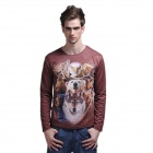 XINGLONG 3D Animal Pattern Long-Sleeve T Shirt for Men - Multicolored (Size-L)