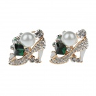STAR 073970 High-Heeled Shoe Style Rhinestone Earrings w/ Pearl + Green Quartz - White + Golden