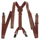 Fashionable PU Leather Clip-on Adjustable Suspender - Brown + Silver