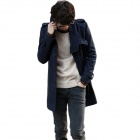 Men's Stand Collar Single-Breasted Coat - Navy (Size-XL)