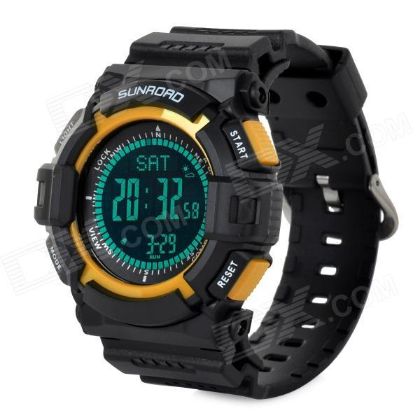 Sunroad FR820B Multifunction Digital Sports Watch w/ Altimeter / Compass/ Barometer - Black + Yellow north edge men sports watch altimeter barometer compass thermometer weather forecast watches digital running climbing wristwatch