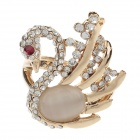 Fashionable Swan Style Rhinestone + Opal Rings for Women - Golden (UK Size 17)
