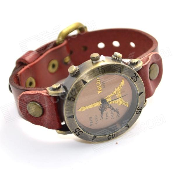 ZY-00019 Fashionable Retro Style PU leather Band Quartz Analog Women's Wrist Watch - Red (1 x 626)