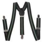 Elastic Clip-on Adjustable Men's Suspender Brace - Black + Deep Green + White (Width 2.5cm)